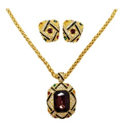 Bold Statement Rope Necklace and Clip On Earrings Set, Jeweled, Enamel, in Gold