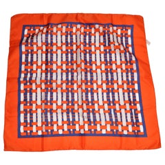 Bold Tangerine Borders With Center Plaid Checker Scarf