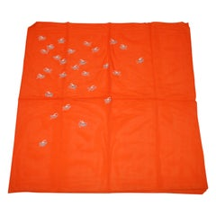 "Bold Tangerine with ""Bursting Lucky Cranes"" Rayon Scarf"