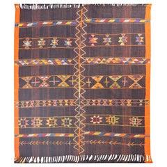 Bold Vintage Mid-20th Century Anatolian Kilim Rug