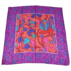 Bold Violet Floral Borders Silk Scarf