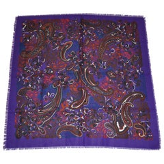 "Bold Violet ""Swirls Of Multi Palsey"" Cotton Blend Fringe Scarf"