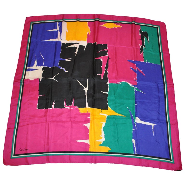 """Bold & Vivid """"Abstract Wilderness"""" Silk Scarf For Sale"""