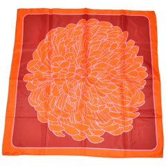 """Bold Whimsical Shades of Tangerine with Fuchsia & Red """"Flower In Bloom"""" Scarf"""