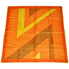 "Bold Whimsical Tangerine & Yellow ""Abstract Block Stripes"" Polyester Scarf"
