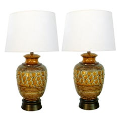 Boldly-Scaled Pair of Italian 1960s Ochre-Glazed Jar-Form Lamps