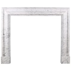 Bolection Fireplace in Italian White Carrara Marble