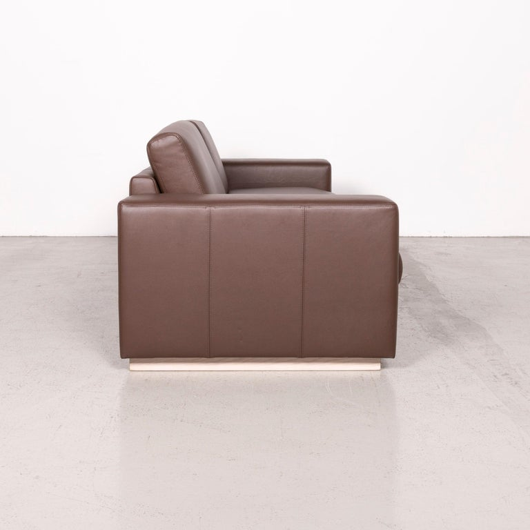 Bolia Designer Leather Sofa Brown Genuine Leather Three-Seater Couch For Sale 4