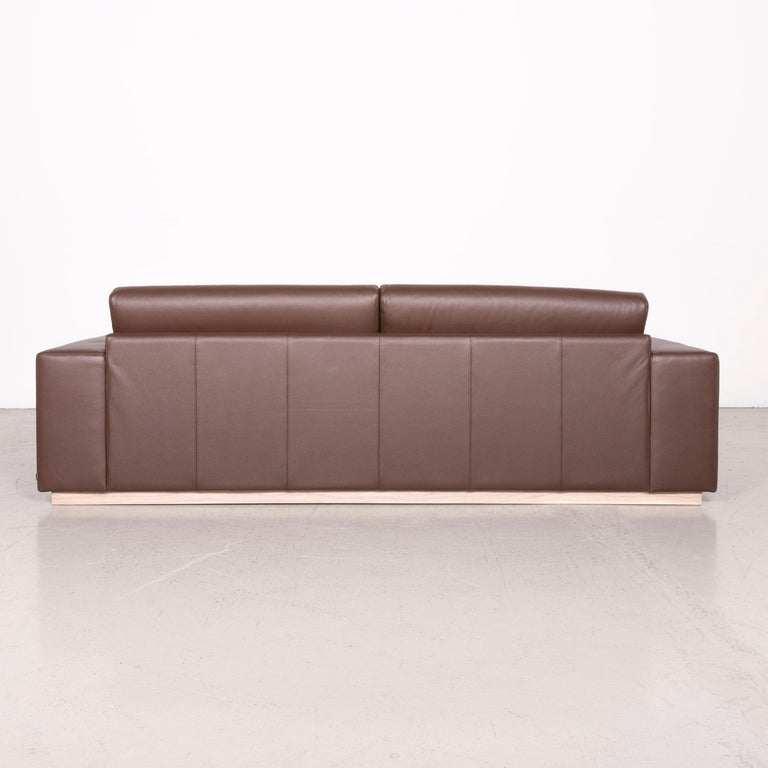 Bolia Designer Leather Sofa Brown Genuine Leather Three-Seater Couch For Sale 5