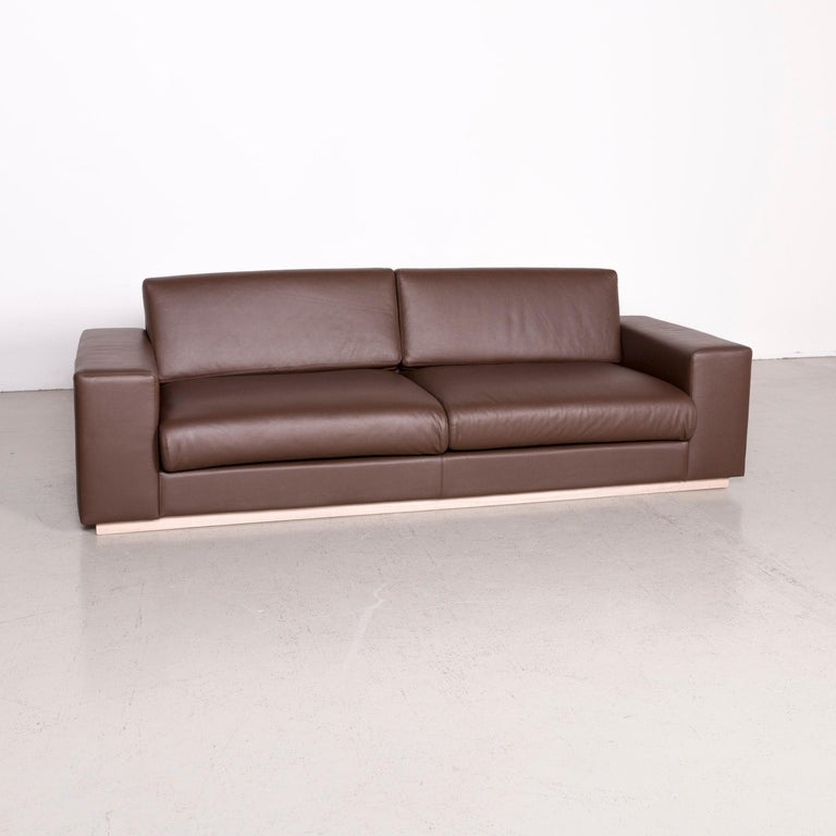 Bolia Designer Leather Sofa Brown Genuine Three Seater Couch