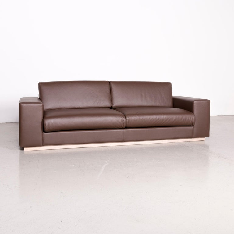 Modern Bolia Designer Leather Sofa Brown Genuine Leather Three-Seater Couch For Sale