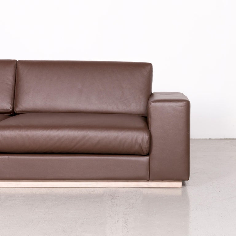 Bolia Designer Leather Sofa Brown Genuine Leather Three-Seater Couch In Good Condition For Sale In Cologne, DE