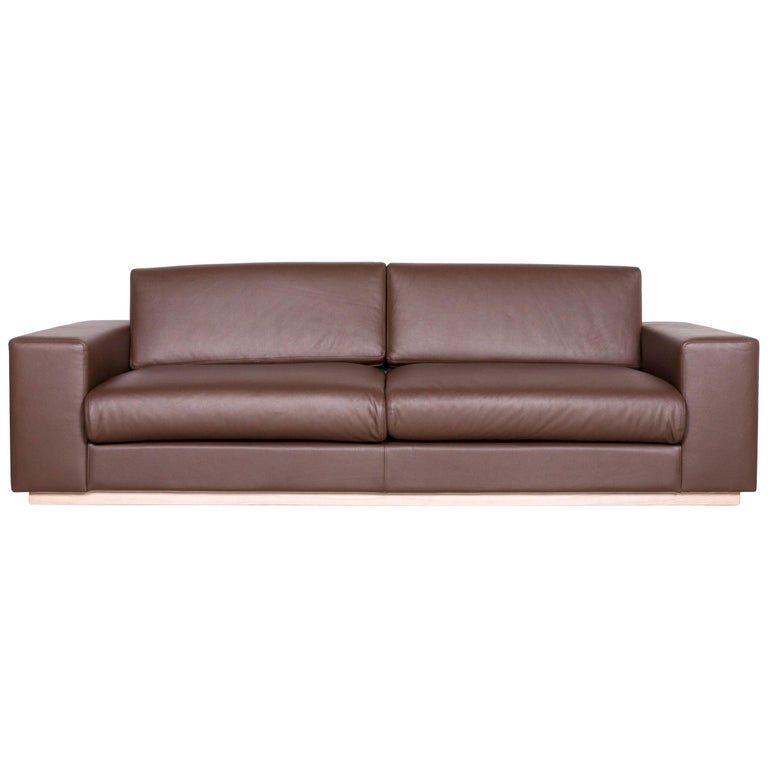 Bolia Designer Leather Sofa Brown Genuine Leather Three-Seater Couch For Sale