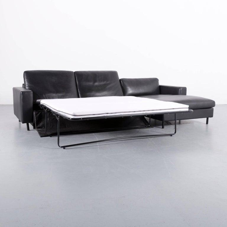 Bolia Leather Corner-Sofa Black Bed-Sofa at 1stdibs