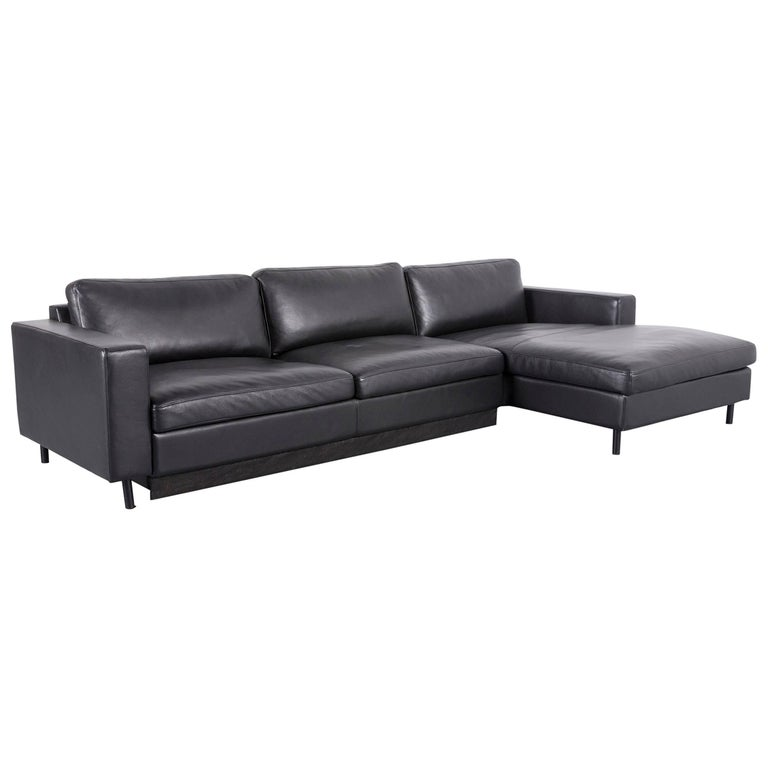 Bolia Leather Corner-Sofa Black Bed-Sofa at 1stdibs