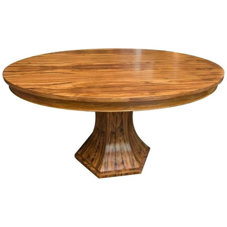 Organic Modern Bolivian Rosewood Center Hall or Dining Table with Organic Curved Base For Sale