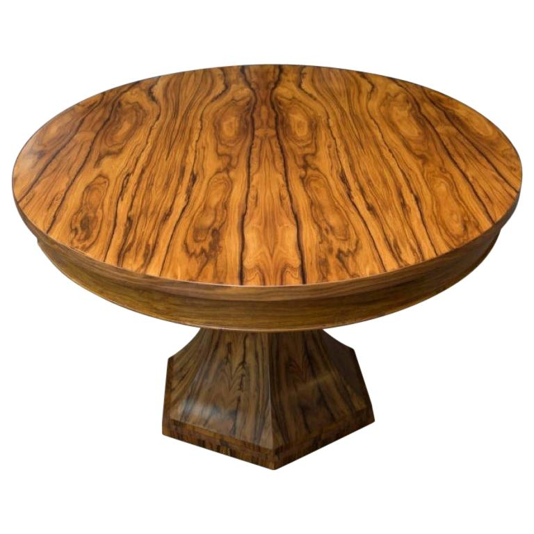 Bolivian Rosewood Center Hall or Dining Table with Organic Curved Base For Sale