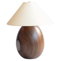 Bolivian Rosewood Lamp with White Linen Shade, Small, Árbol Collection, 4