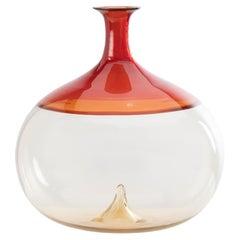 Bolle Incalmo Blown Glass Vase 'Red, Straw' by Tapio Wirkkala Venini Murano