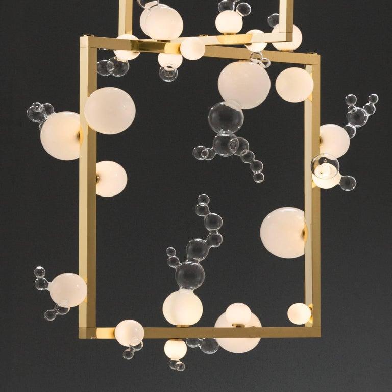 Italian Bollicine Chandelier 'Three modules' Brass and Handblown Glass Pendant Light For Sale