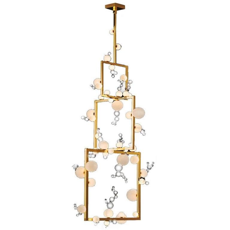 Bollicine Chandelier 'Three modules' Brass and Handblown Glass Pendant Light For Sale