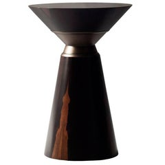 Bolo Side Table by DeMuro Das in Ziracote and Solid Antique Bronze Collar