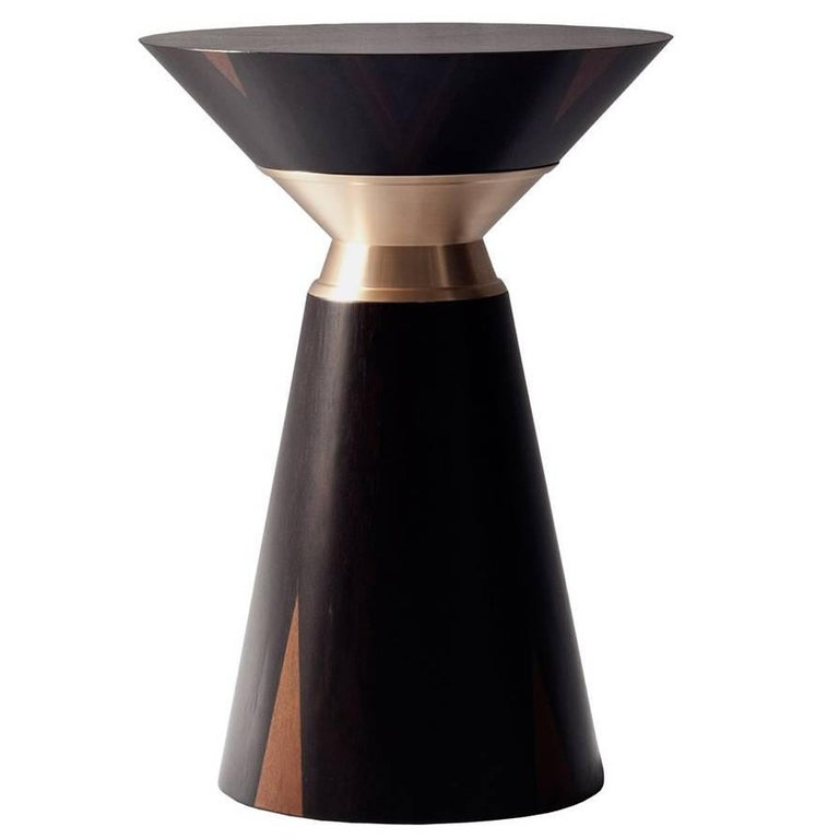 Bolo Side Table by DeMuro Das in Ziracote with Solid Satin Bronze Collar