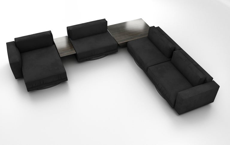 Italian Bolsa Sectional L with Tables by Ortiz Milano For Sale