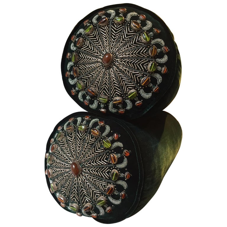 Bolster Cushions Velvet Dark Emerald Silver Embroidery with Semi Precious Stones For Sale