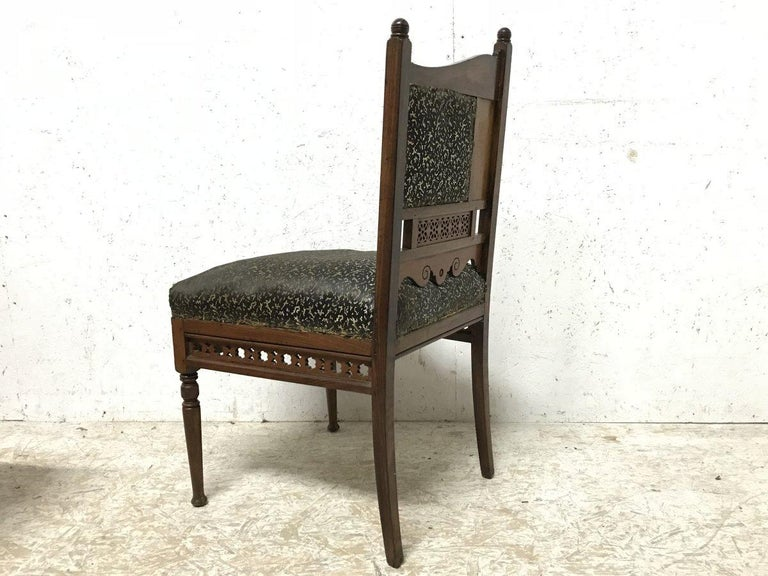 English Bombay Art Furniture Anglo-Japanese Side Chair with a Lacquer Floral Panel For Sale