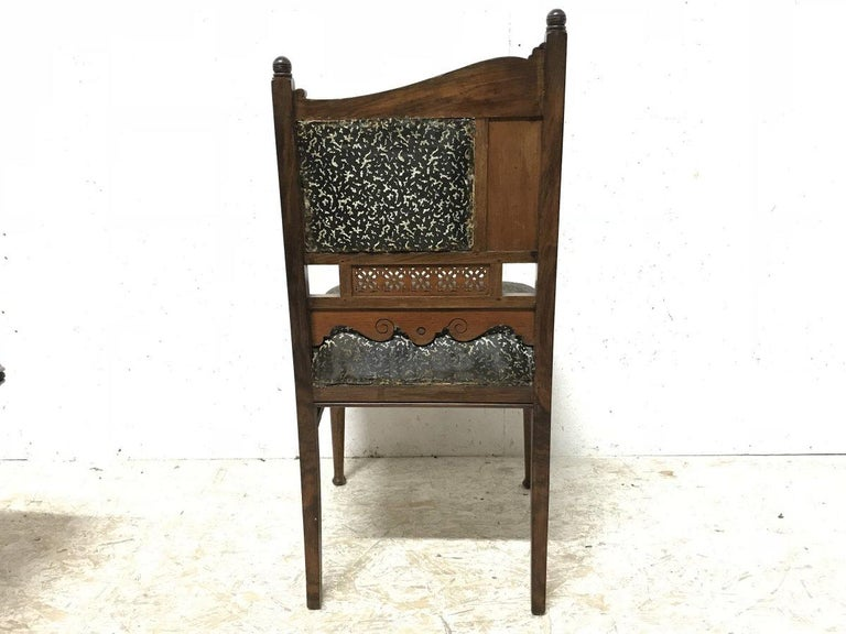 Hand-Crafted Bombay Art Furniture Anglo-Japanese Side Chair with a Lacquer Floral Panel For Sale