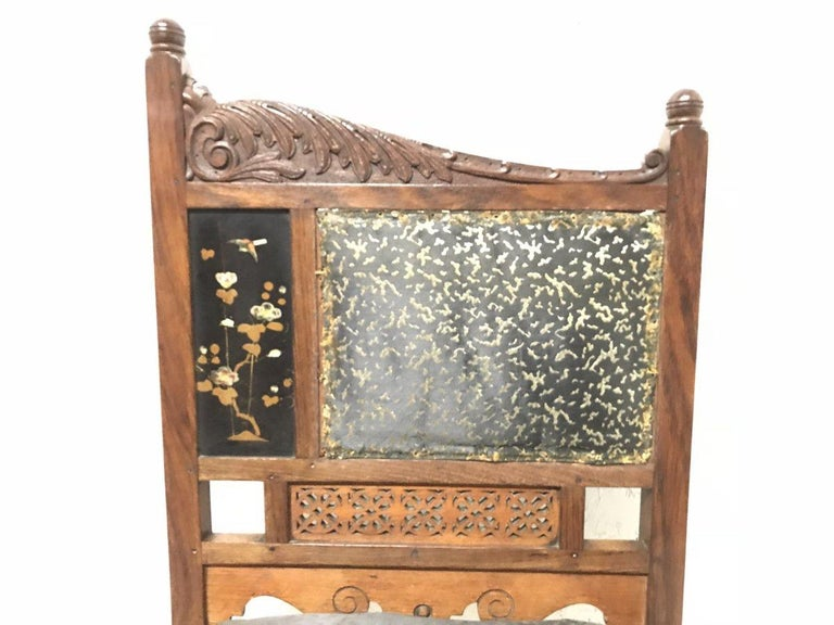 Bombay Art Furniture Anglo-Japanese Side Chair with a Lacquer Floral Panel In Good Condition For Sale In London, GB