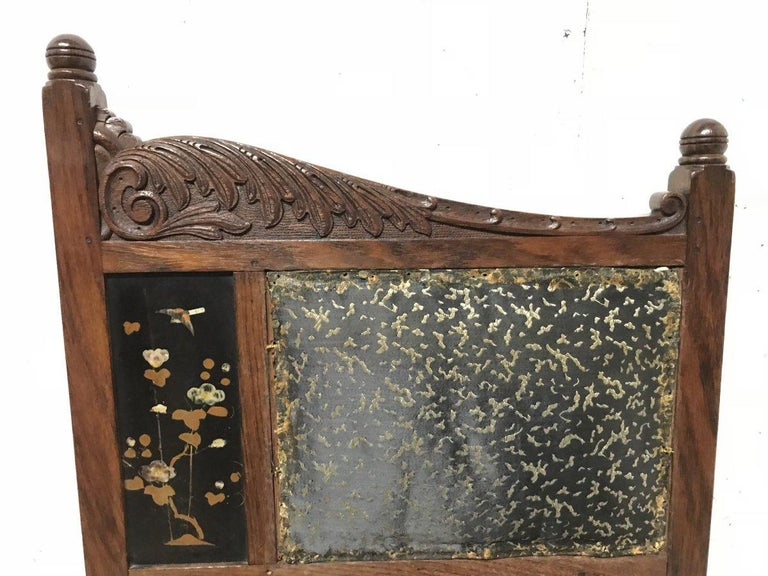 Mother-of-Pearl Bombay Art Furniture Anglo-Japanese Side Chair with a Lacquer Floral Panel For Sale