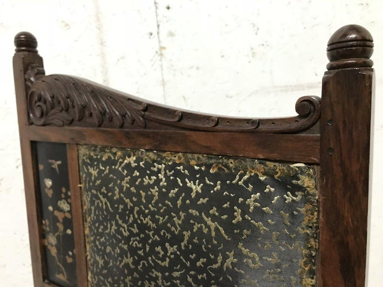 Bombay Art Furniture Anglo-Japanese Side Chair with a Lacquer Floral Panel For Sale 1