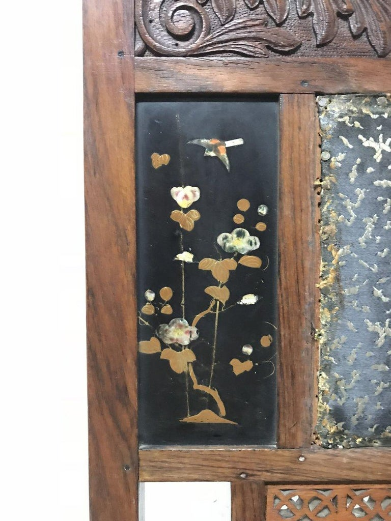 Bombay Art Furniture Anglo-Japanese Side Chair with a Lacquer Floral Panel For Sale 2