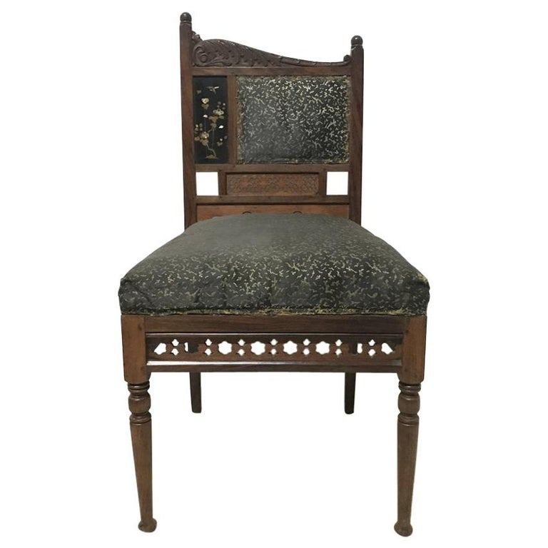 Bombay Art Furniture Anglo-Japanese Side Chair with a Lacquer Floral Panel For Sale