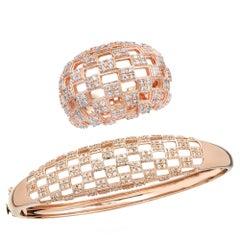 Bombe Diamond and 18 Karat Rose Gold Bracelet and Ring Set