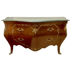 Bombe Marble-Top Bronze Mounted Commode / Dresser in a Tortoise Finish