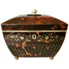 Bombe' Pressed and Inlaid Georgian Tea Caddy
