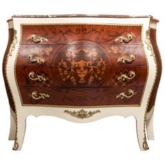 Bombe Rococo Style 4 Drawers Chest, 20th Century
