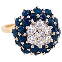Bombe Sapphire Diamond Ring, 2.13 Carat Diamond and Sapphire Ring
