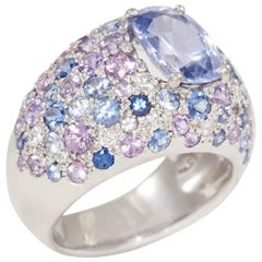 18 Carat White Gold Ring with Pink, Blue and Violet Sapphires and Diamonds