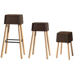 Bombetta Cube Stool Set, with Ash Legs and Dark Cork Seat by Discipline Lab