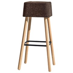 Bombetta Stool Cube High, with Ash Legs and Dark Cork Seat by Discipline Lab