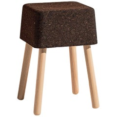 Bombetta Stool Cube Low, with Ash Legs and Dark Cork Seat by Discipline Lab