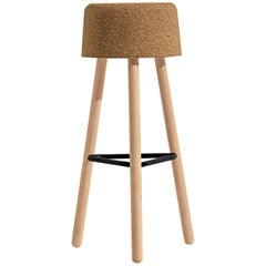 Bombetta Stool High, with Ash Legs and Natural Cork Seat by Discipline Lab