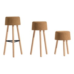 Bombetta Stool Set, with Ash Legs and Natural Cork Seat by Discipline Lab