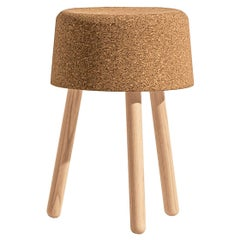 Bombetta Stool Low, with Ash Legs and Natural Cork Seat by Discipline Lab