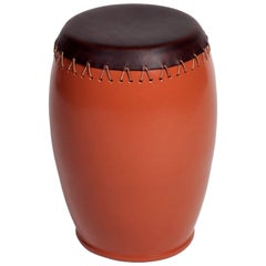 'Bombo' Leather Side Table by Nestor Perkal