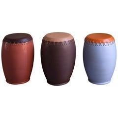 Bombo, Leather Side Table by Nestor Perkal